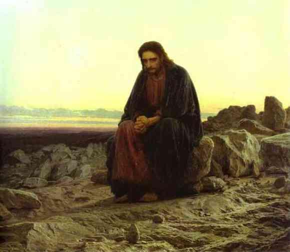 Christ in the Wilderness. Painted by Ivan Kramskoi (1872)