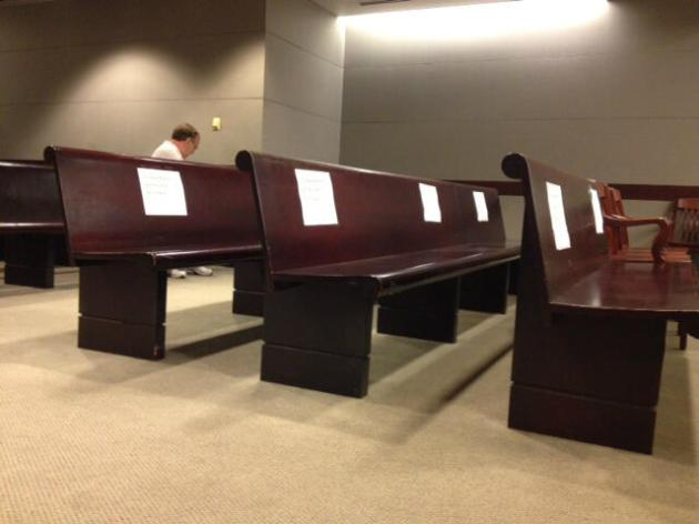 A picture taken last week of the reserved media seats at the Gosnell trial. It was taken by JD Mullane of the Bucks County Courier.