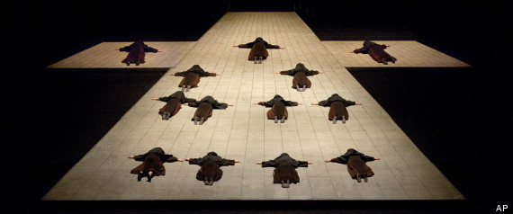 "The opening scene in Poulenc's ""Dialogues des Carmélites,"" during a dress rehearsal at the Metropolitan Opera in New York (AP Photo/Ken Howard)"