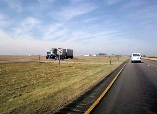 Westbound on Interstate 80 in central Nebraska. Approaching the scene of the accident.