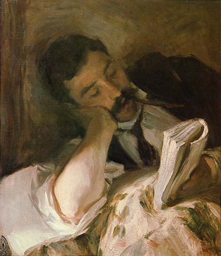 Man Reading. Oil on canvas by John Singer Sargent (undated)