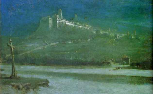 Albert Goodwin - The Monastery of St Francis, Assisi : Asleep in the Moonlight. Oil on canvas (1887)