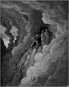 This is Gustave Dore's version of the encounter with Marco Lombardo in Purgatorio, Canto 16.