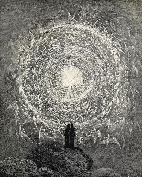Rosa Celeste: Dante and Beatrice gaze upon the highest Heaven, The Empyrean (Gustave Doré, artist)