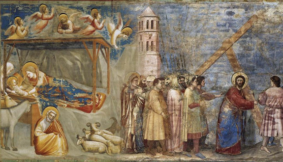"Left: ""Nativity: Birth of Jesus"" (1306); right: ""The Road to Calvary"" (1305), both by Giotto."