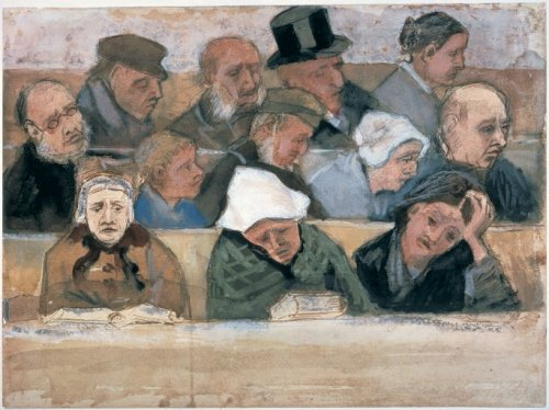 """""""Church Pew with Worshippers"""" by Vincent van Gogh (1882)"""